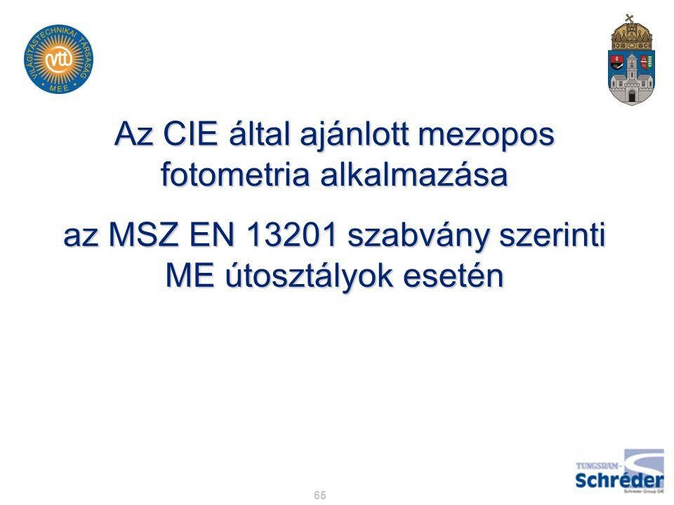 65 Az CIE által ajánlott mezopos fotometria alkalmazása az MSZ EN 13201 szabvány szerinti ME útosztályok esetén