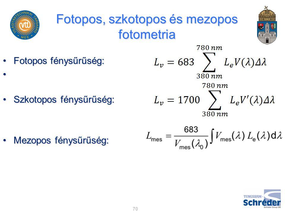 Fotopos, szkotopos és mezopos fotometria Fotopos fénysűrűség:Fotopos fénysűrűség: Szkotopos fénysűrűség:Szkotopos fénysűrűség: Mezopos fénysűrűség:Mez