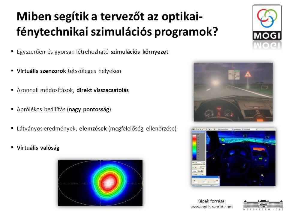 Miben segítik a tervezőt az optikai- fénytechnikai szimulációs programok?  Egyszerűen és gyorsan létrehozható szimulációs környezet  Virtuális szenz
