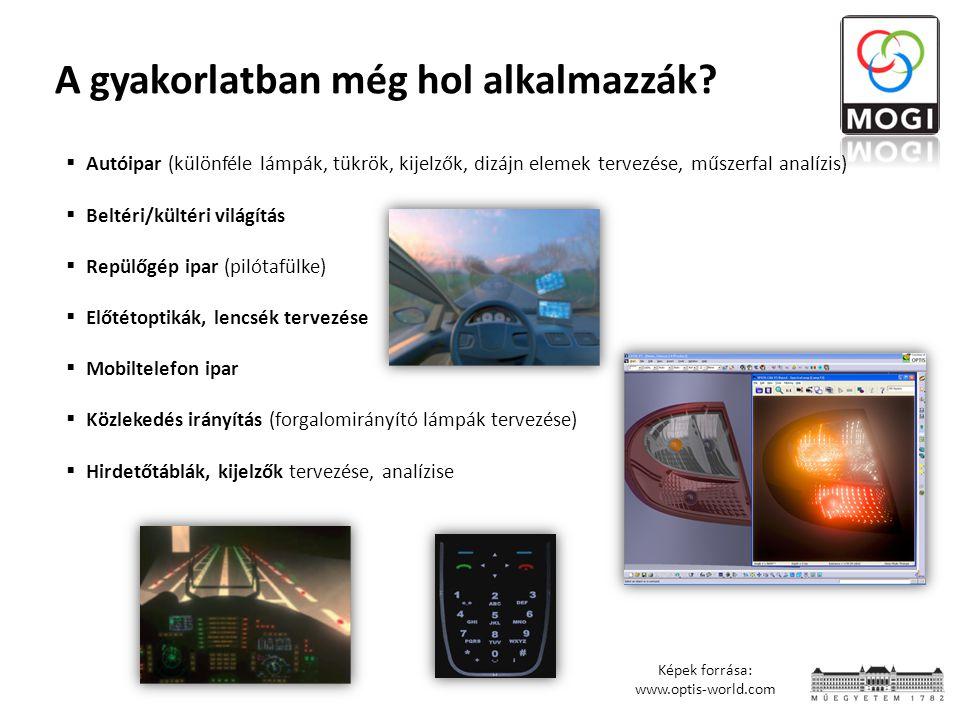 A gyakorlatban még hol alkalmazzák?  Autóipar (különféle lámpák, tükrök, kijelzők, dizájn elemek tervezése, műszerfal analízis)  Beltéri/kültéri vil