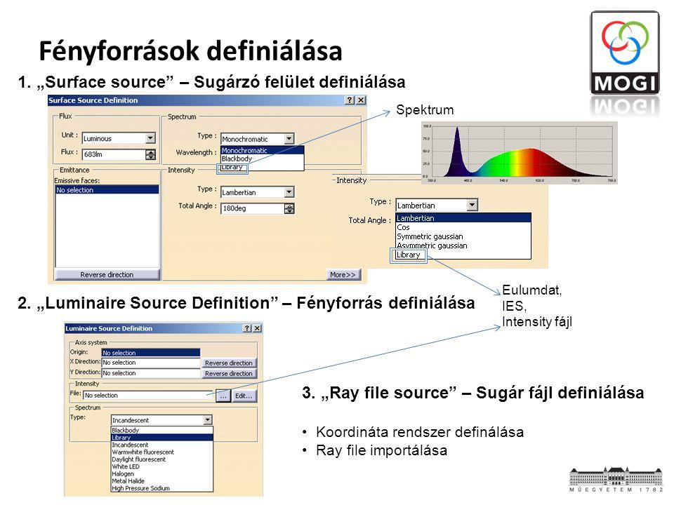 """Fényforrások definiálása 1. """"Surface source"""" – Sugárzó felület definiálása 3. """"Ray file source"""" – Sugár fájl definiálása Koordináta rendszer definálás"""