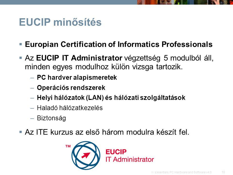 10 IT Essentials: PC Hardware and Software v4.0 EUCIP minősítés  Europian Certification of Informatics Professionals  Az EUCIP IT Administrator végzettség 5 modulból áll, minden egyes modulhoz külön vizsga tartozik.