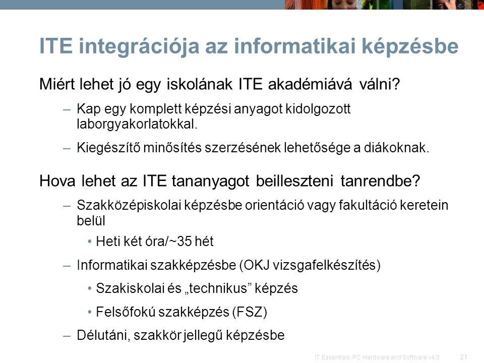 21 IT Essentials: PC Hardware and Software v4.0 ITE integrációja az informatikai képzésbe Miért lehet jó egy iskolának ITE akadémiává válni? –Kap egy