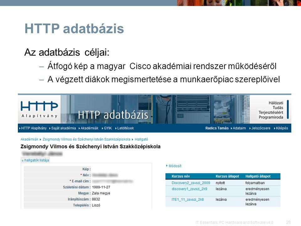 28 IT Essentials: PC Hardware and Software v4.0 HTTP adatbázis Az adatbázis céljai: –Átfogó kép a magyar Cisco akadémiai rendszer működéséről –A végzett diákok megismertetése a munkaerőpiac szereplőivel