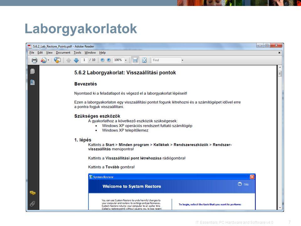 7 IT Essentials: PC Hardware and Software v4.0 Laborgyakorlatok