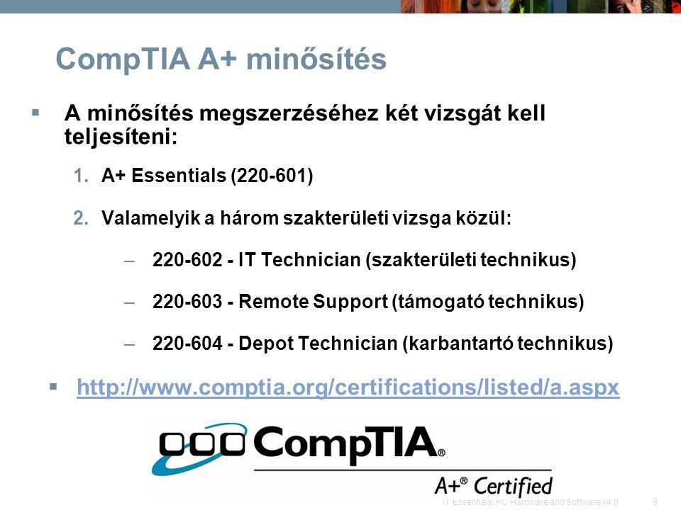 9 IT Essentials: PC Hardware and Software v4.0 CompTIA A+ minősítés  A minősítés megszerzéséhez két vizsgát kell teljesíteni: 1.A+ Essentials (220-601) 2.Valamelyik a három szakterületi vizsga közül: –220-602 - IT Technician (szakterületi technikus) –220-603 - Remote Support (támogató technikus) –220-604 - Depot Technician (karbantartó technikus)  http://www.comptia.org/certifications/listed/a.aspx http://www.comptia.org/certifications/listed/a.aspx