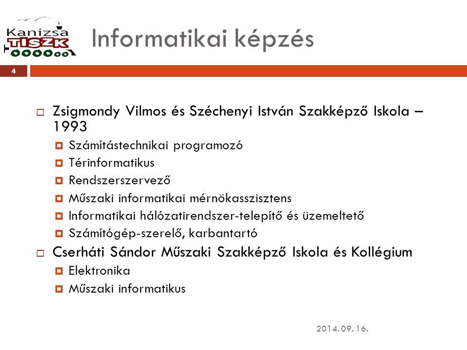 Informatikai képzés 2014.09. 16.