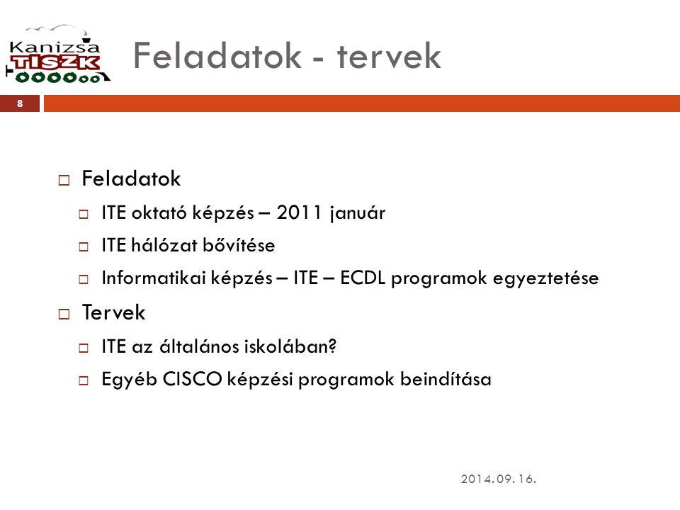 Feladatok - tervek 2014. 09. 16. 8  Feladatok  ITE oktató képzés – 2011 január  ITE hálózat bővítése  Informatikai képzés – ITE – ECDL programok e
