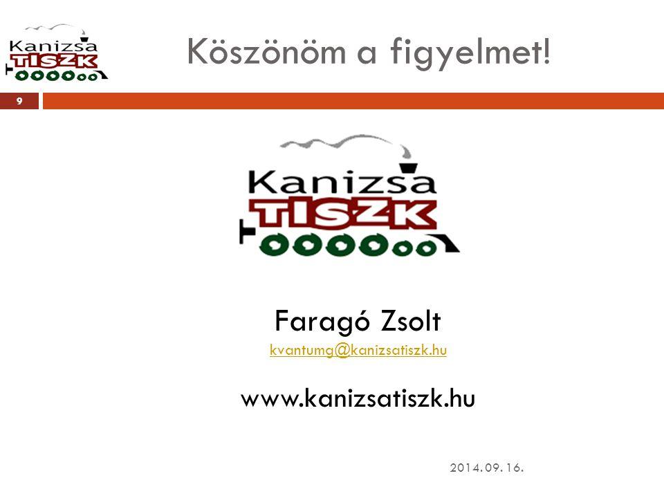 Köszönöm a figyelmet! 2014. 09. 16. 9 Faragó Zsolt kvantumg@kanizsatiszk.hu www.kanizsatiszk.hu