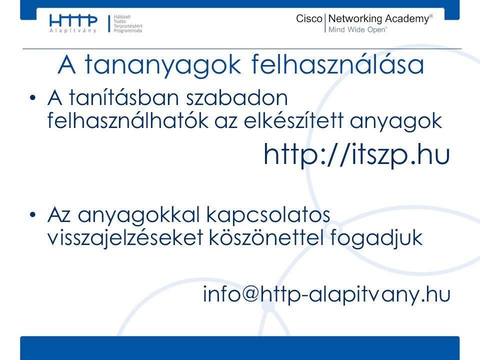 A tananyagok felhasználása A tanításban szabadon felhasználhatók az elkészített anyagok http://itszp.hu Az anyagokkal kapcsolatos visszajelzéseket köszönettel fogadjuk info@http-alapitvany.hu
