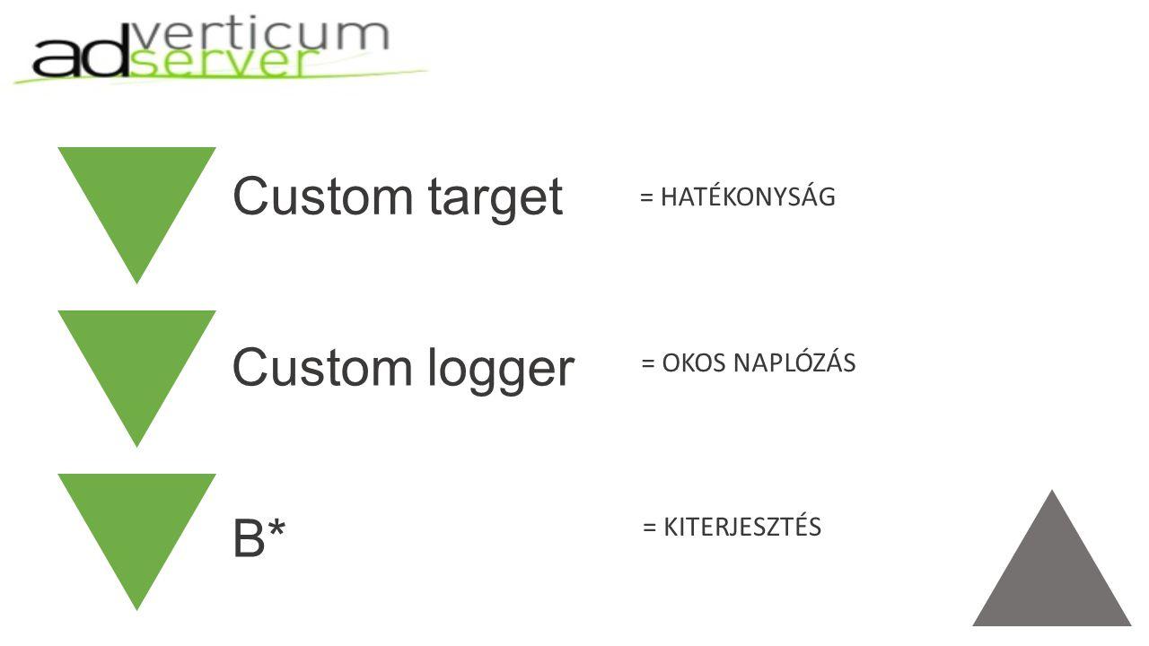 Custom target Custom logger B* = HATÉKONYSÁG = OKOS NAPLÓZÁS = KITERJESZTÉS