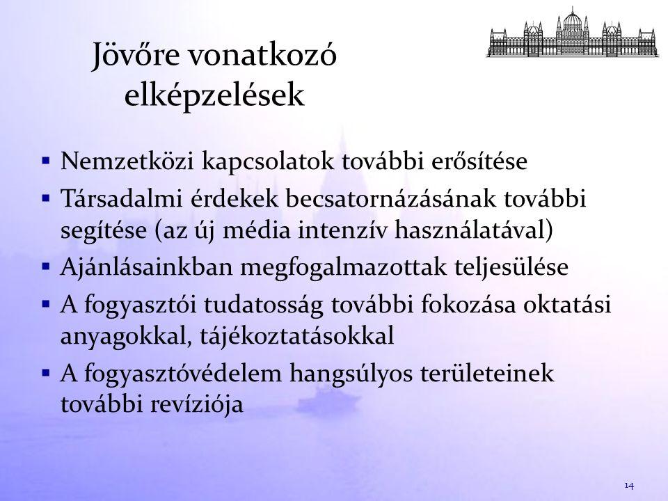 Jövőre vonatkozó elképzelések  Nemzetközi kapcsolatok további erősítése  Társadalmi érdekek becsatornázásának további segítése (az új média intenzív használatával)  Ajánlásainkban megfogalmazottak teljesülése  A fogyasztói tudatosság további fokozása oktatási anyagokkal, tájékoztatásokkal  A fogyasztóvédelem hangsúlyos területeinek további revíziója 14