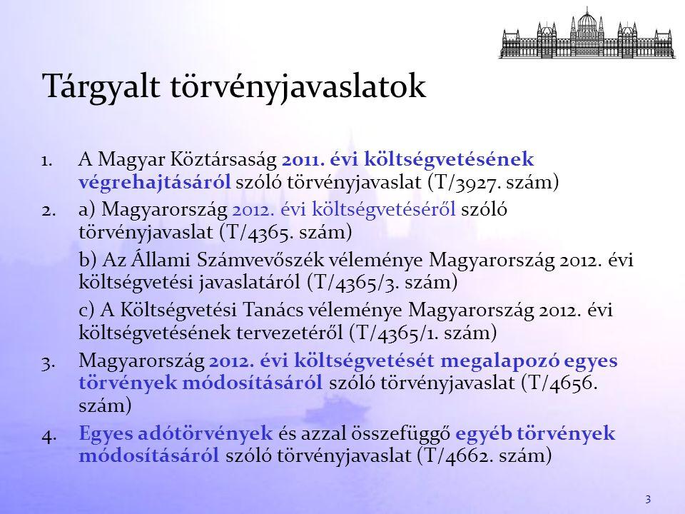 1. A Magyar Köztársaság 2011. évi költségvetésének végrehajtásáról szóló törvényjavaslat (T/3927. szám) 2. a) Magyarország 2012. évi költségvetéséről