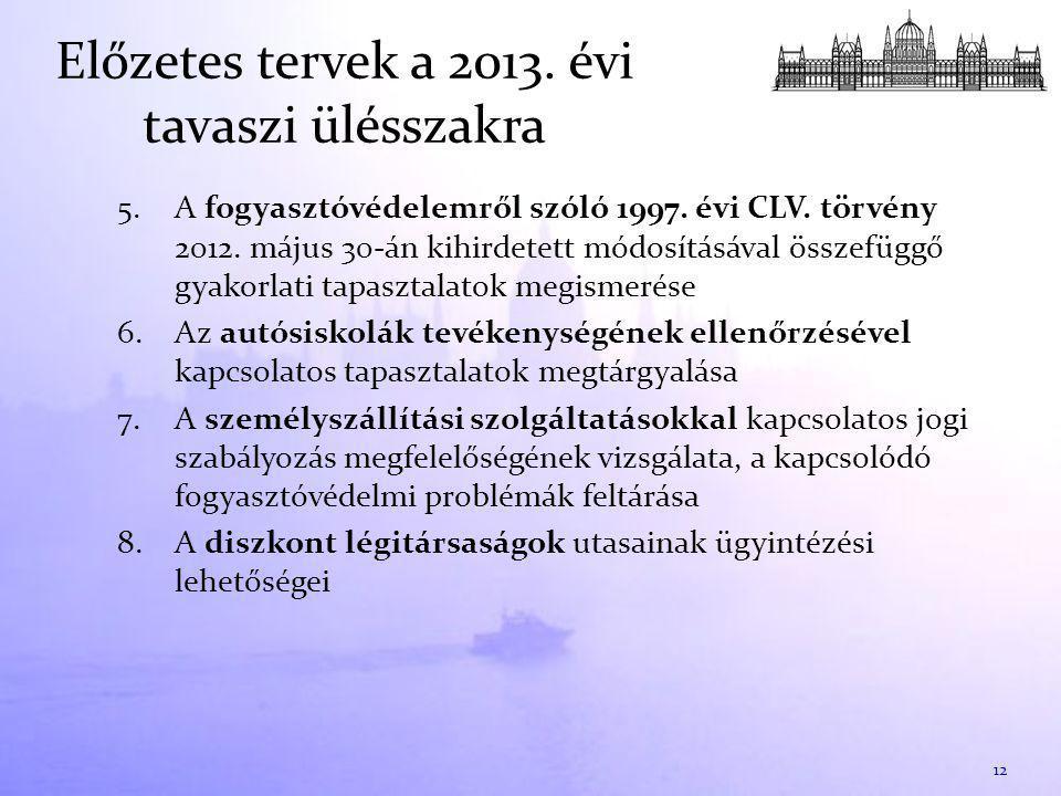 Előzetes tervek a 2013. évi tavaszi ülésszakra 5.A fogyasztóvédelemről szóló 1997.