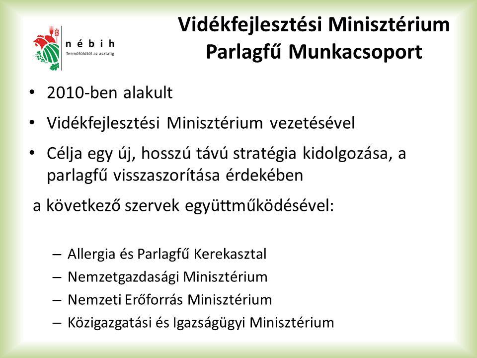 Vidékfejlesztési Minisztérium Parlagfű Munkacsoport 2010-ben alakult Vidékfejlesztési Minisztérium vezetésével Célja egy új, hosszú távú stratégia kid
