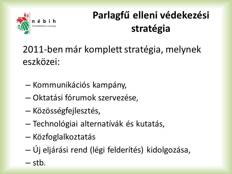 Parlagfű elleni védekezési stratégia 2011-ben már komplett stratégia, melynek eszközei: – Kommunikációs kampány, – Oktatási fórumok szervezése, – Közösségfejlesztés, – Technológiai alternatívák és kutatás, – Közfoglalkoztatás – Új eljárási rend (légi felderítés) kidolgozása, – stb.