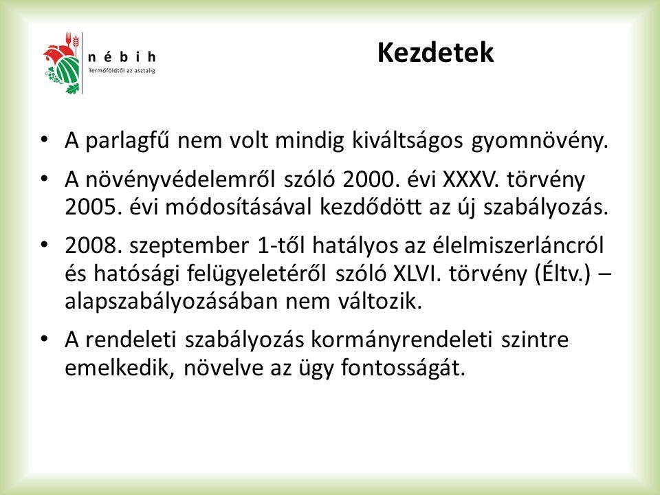Kezdetek A parlagfű nem volt mindig kiváltságos gyomnövény. A növényvédelemről szóló 2000. évi XXXV. törvény 2005. évi módosításával kezdődött az új s