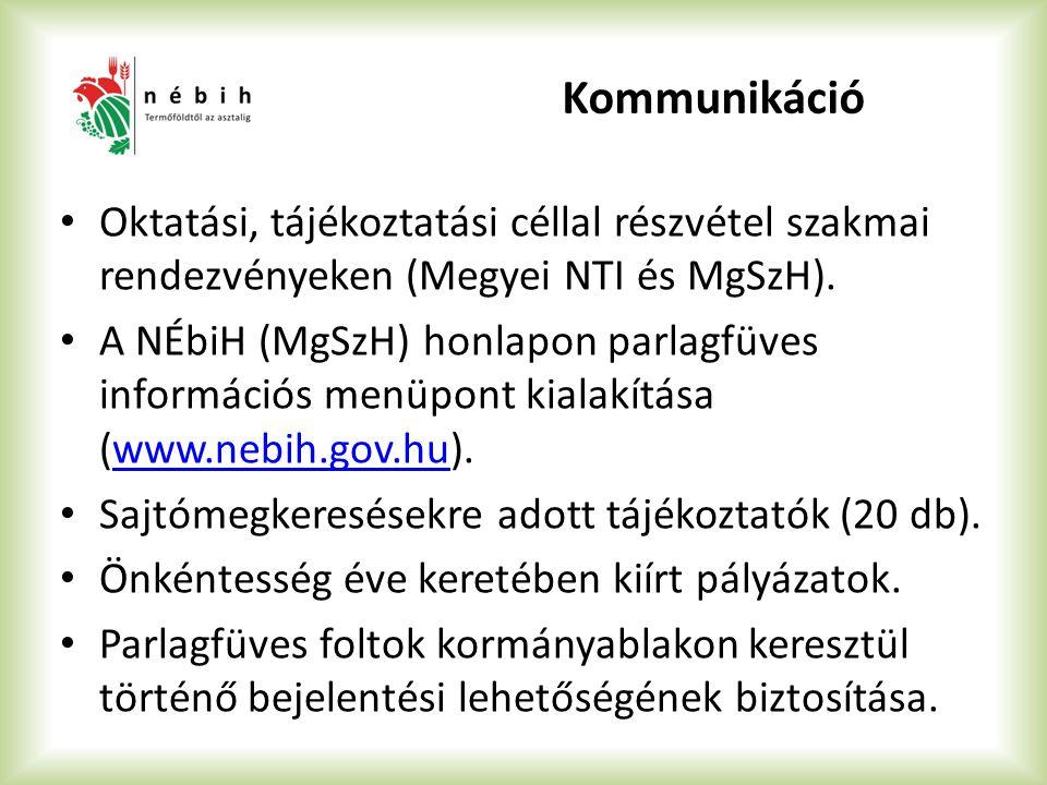 Kommunikáció Oktatási, tájékoztatási céllal részvétel szakmai rendezvényeken (Megyei NTI és MgSzH).