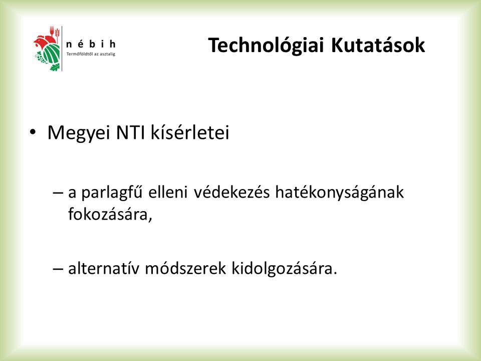 Technológiai Kutatások Megyei NTI kísérletei – a parlagfű elleni védekezés hatékonyságának fokozására, – alternatív módszerek kidolgozására.
