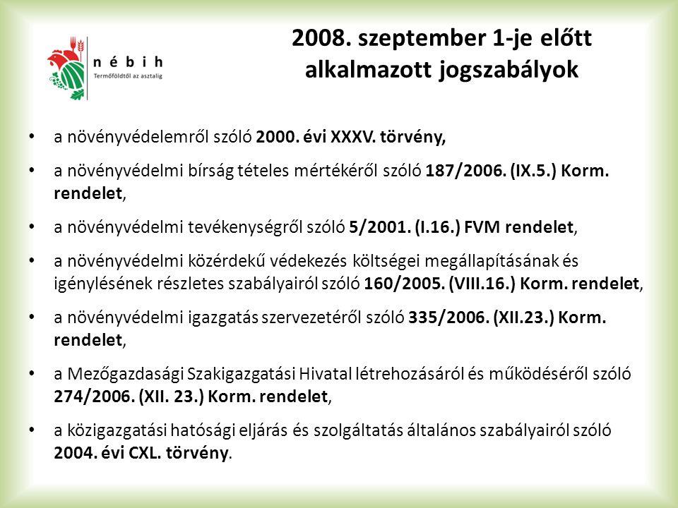 2008. szeptember 1-je előtt alkalmazott jogszabályok a növényvédelemről szóló 2000. évi XXXV. törvény, a növényvédelmi bírság tételes mértékéről szóló