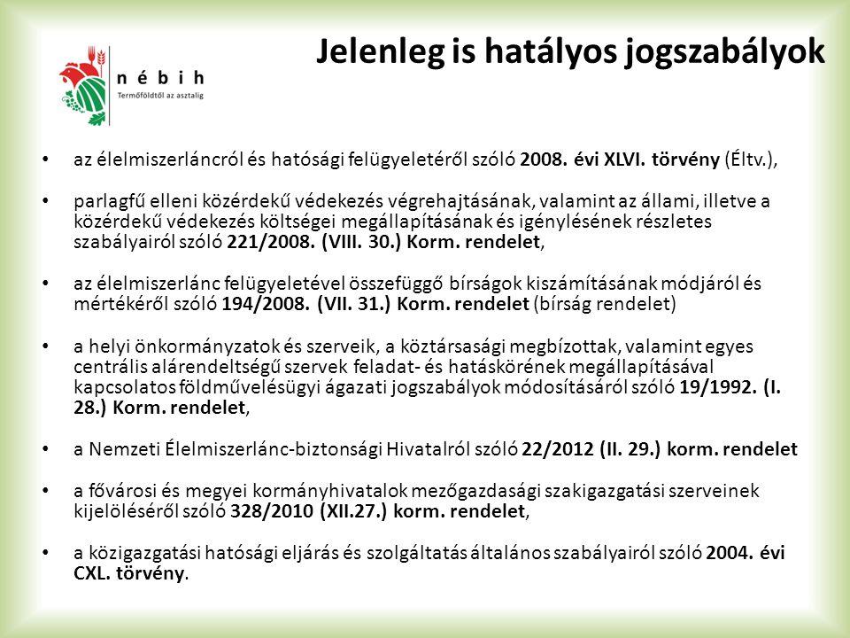Jelenleg is hatályos jogszabályok az élelmiszerláncról és hatósági felügyeletéről szóló 2008. évi XLVI. törvény (Éltv.), parlagfű elleni közérdekű véd