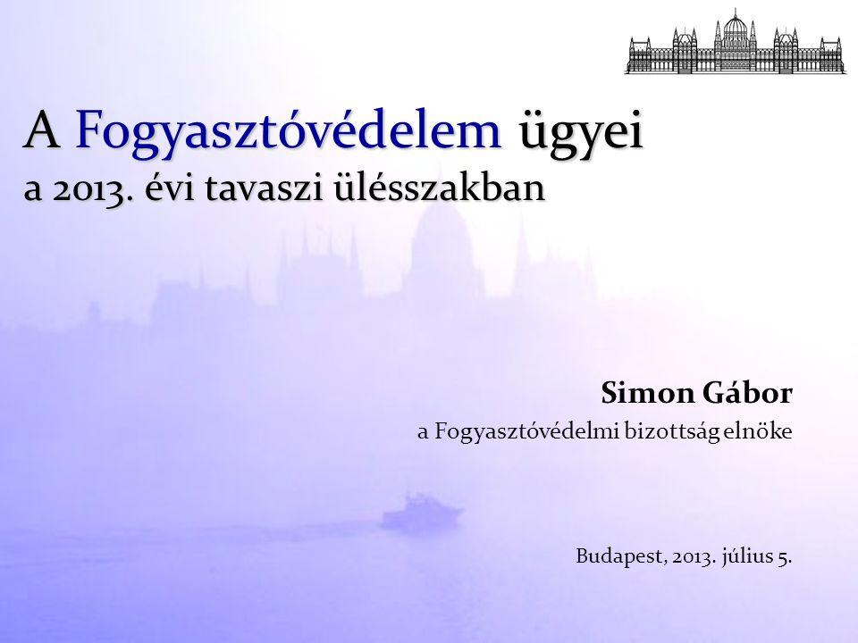 Simon Gábor a Fogyasztóvédelmi bizottság elnöke Budapest, 2013. július 5. A Fogyasztóvédelem ügyei a 2013. évi tavaszi ülésszakban