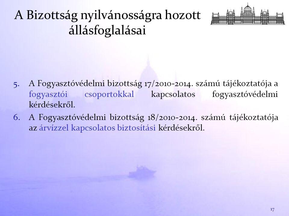 5.A Fogyasztóvédelmi bizottság 17/2010-2014.