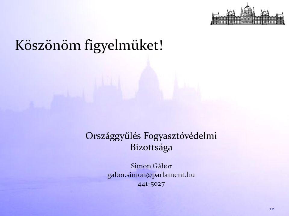 Köszönöm figyelmüket! 20 Országgyűlés Fogyasztóvédelmi Bizottsága Simon Gábor gabor.simon@parlament.hu 441-5027