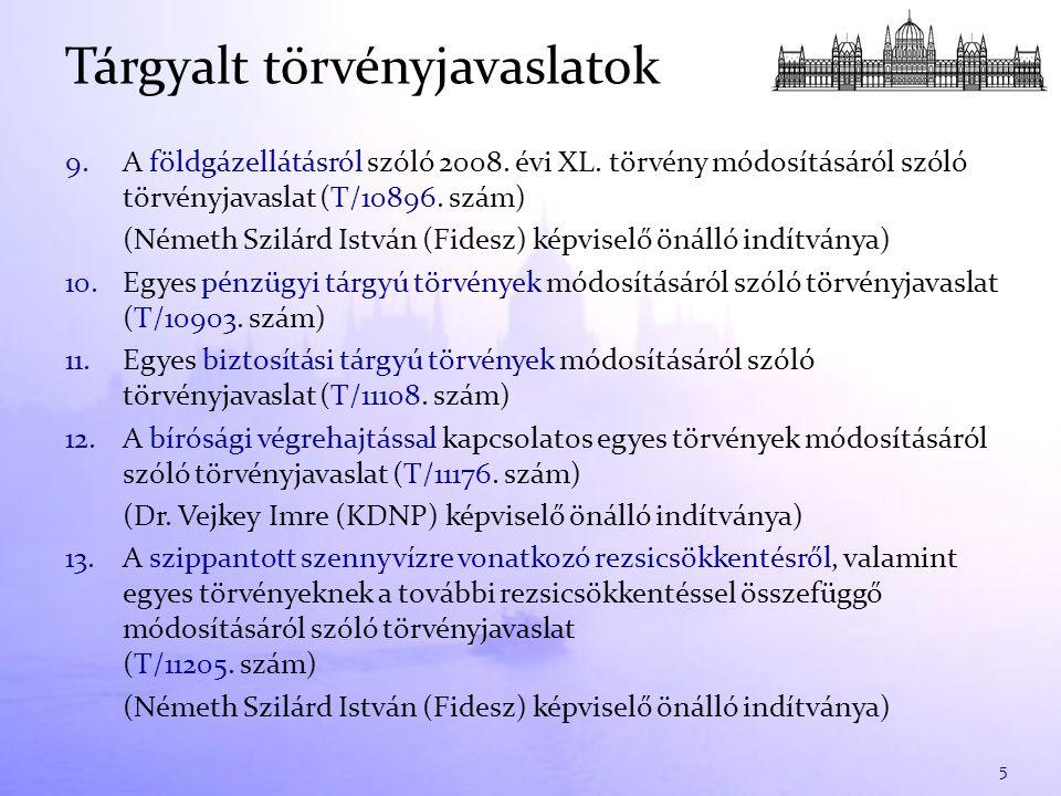 9.A földgázellátásról szóló 2008. évi XL. törvény módosításáról szóló törvényjavaslat (T/10896. szám) (Németh Szilárd István (Fidesz) képviselő önálló