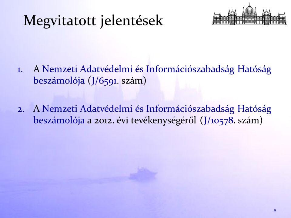 1.A Nemzeti Adatvédelmi és Információszabadság Hatóság beszámolója (J/6591. szám) 2.A Nemzeti Adatvédelmi és Információszabadság Hatóság beszámolója a