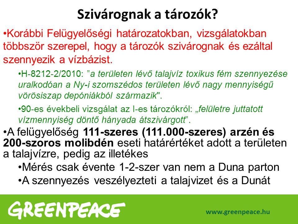 www.greenpeace.hu Korábbi Felügyelőségi határozatokban, vizsgálatokban többször szerepel, hogy a tározók szivárognak és ezáltal szennyezik a vízbázist