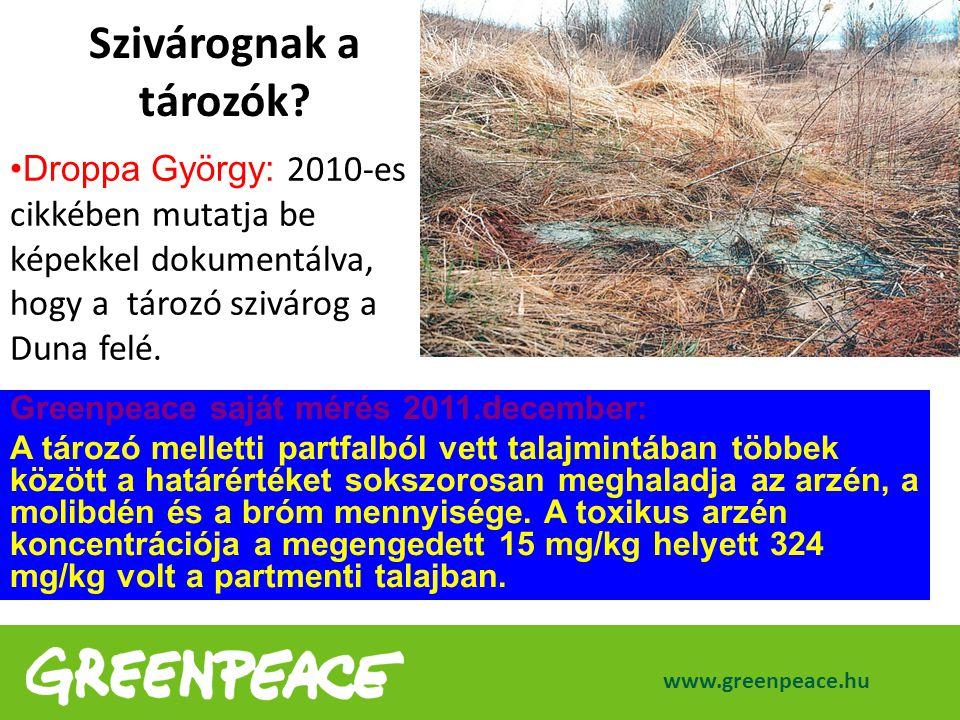 www.greenpeace.hu Droppa György: 2010-es cikkében mutatja be képekkel dokumentálva, hogy a tározó szivárog a Duna felé. Szivárognak a tározók? Greenpe
