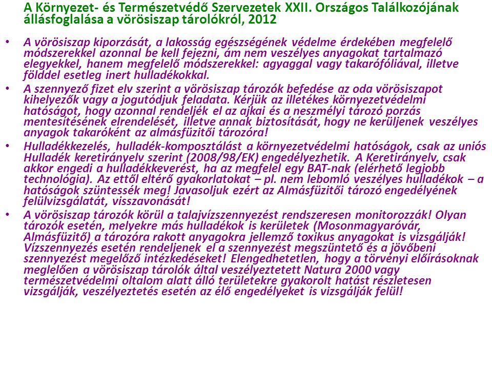 A Környezet- és Természetvédő Szervezetek XXII. Országos Találkozójának állásfoglalása a vörösiszap tárolókról, 2012 A vörösiszap kiporzását, a lakoss