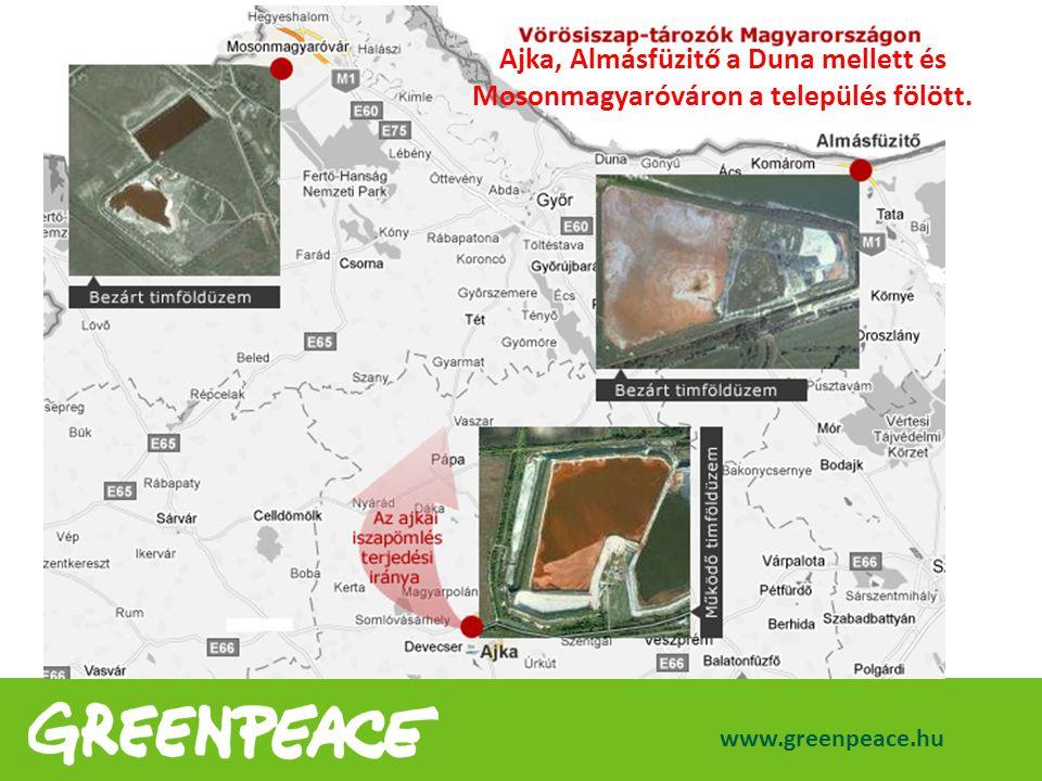 www.greenpeace.hu Ajka, Almásfüzitő a Duna mellett és Mosonmagyaróváron a település fölött.