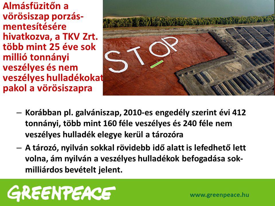 – Korábban pl. galvániszap, 2010-es engedély szerint évi 412 tonnányi, több mint 160 féle veszélyes és 240 féle nem veszélyes hulladék elegye kerül a