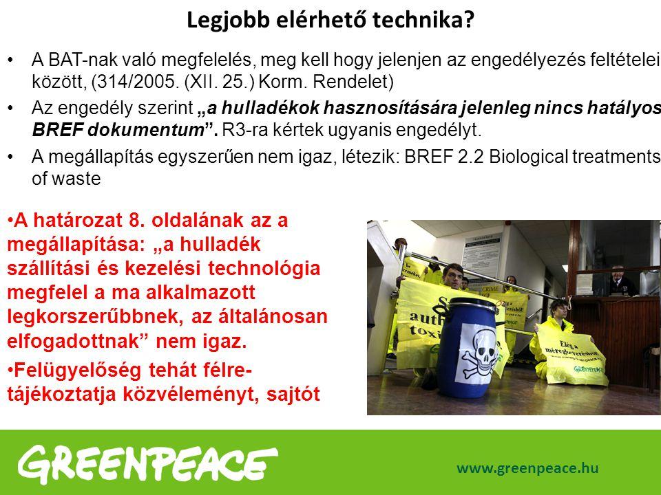 www.greenpeace.hu Legjobb elérhető technika? A BAT-nak való megfelelés, meg kell hogy jelenjen az engedélyezés feltételei között, (314/2005. (XII. 25.