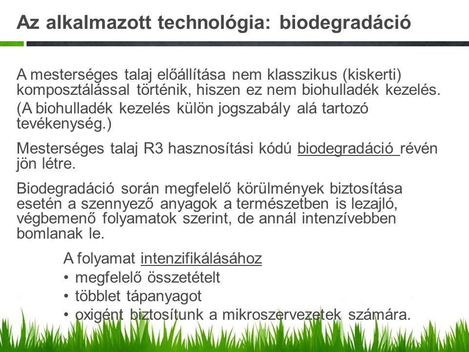 Az alkalmazott technológia: biodegradáció A mesterséges talaj előállítása nem klasszikus (kiskerti) komposztálással történik, hiszen ez nem biohulladé