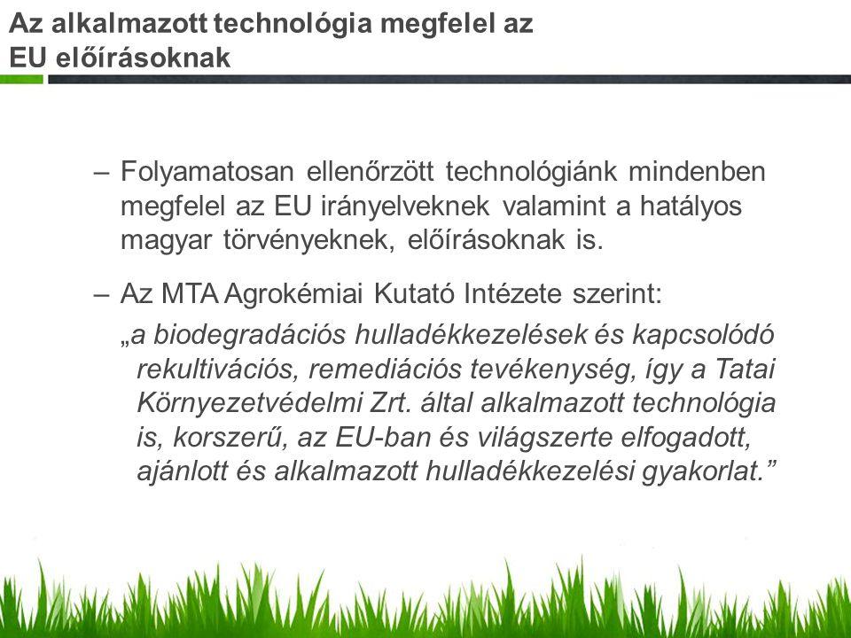 Az alkalmazott technológia megfelel az EU előírásoknak –Folyamatosan ellenőrzött technológiánk mindenben megfelel az EU irányelveknek valamint a hatál