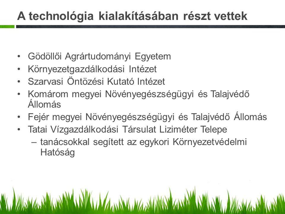 A technológia kialakításában részt vettek Gödöllői Agrártudományi Egyetem Környezetgazdálkodási Intézet Szarvasi Öntözési Kutató Intézet Komárom megye