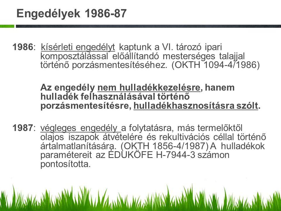 Engedélyek 1986-87 1986: kísérleti engedélyt kaptunk a VI. tározó ipari komposztálással előállítandó mesterséges talajjal történő porzásmentesítéséhez