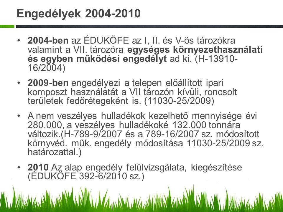 Engedélyek 2004-2010 2004-ben az ÉDUKÖFE az I, II. és V-ös tározókra valamint a VII. tározóra egységes környezethasználati és egyben működési engedély