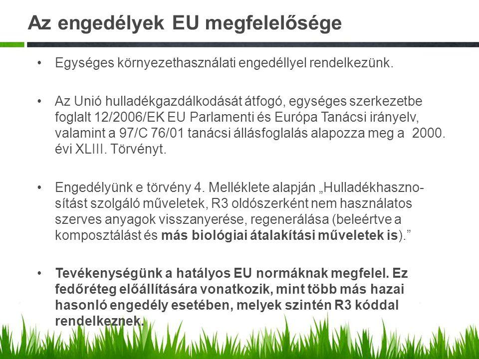 Az engedélyek EU megfelelősége Egységes környezethasználati engedéllyel rendelkezünk. Az Unió hulladékgazdálkodását átfogó, egységes szerkezetbe fogla