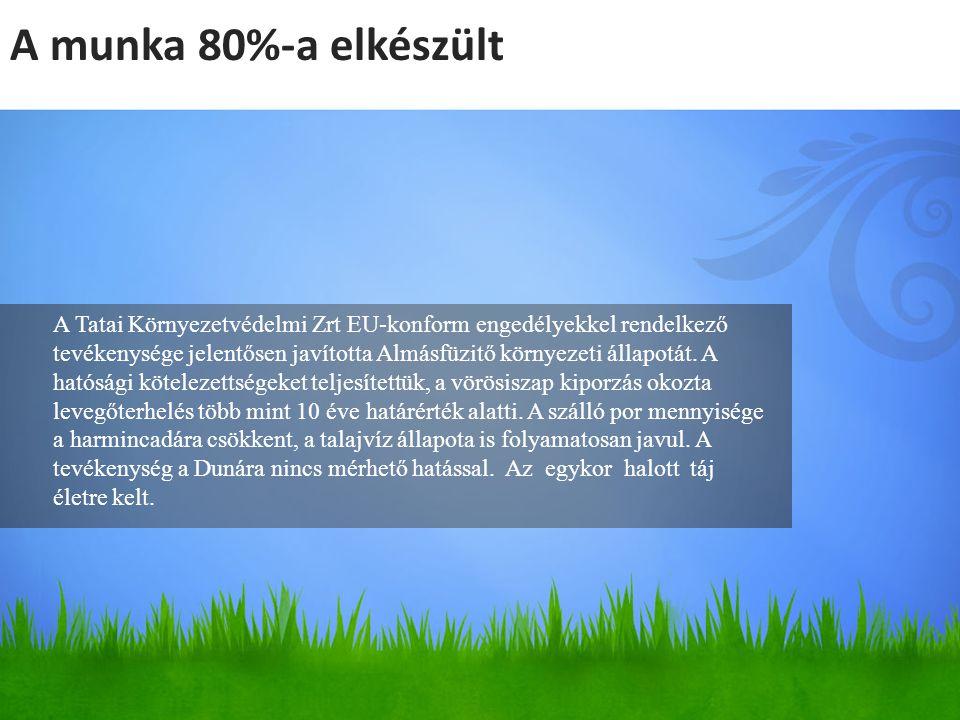 A Tatai Környezetvédelmi Zrt EU-konform engedélyekkel rendelkező tevékenysége jelentősen javította Almásfüzitő környezeti állapotát. A hatósági kötele