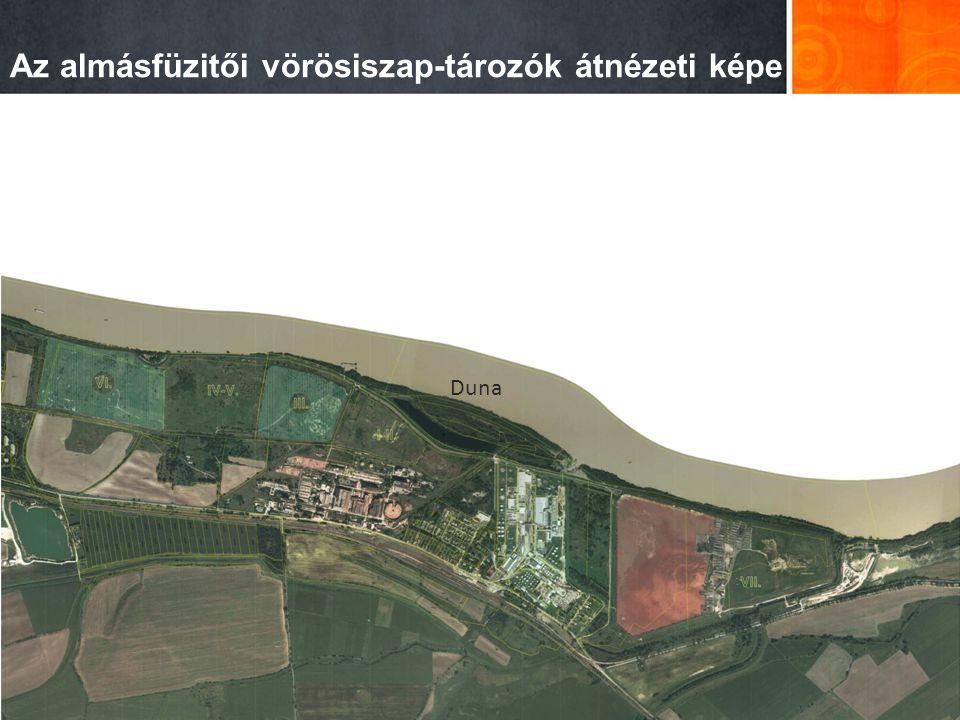 Az almásfüzitői vörösiszap-tározók átnézeti képe Duna