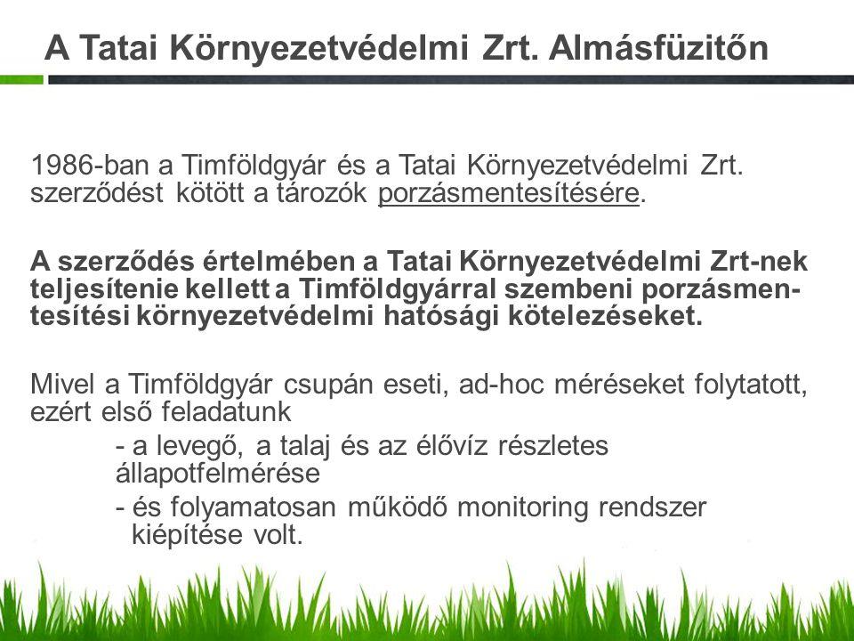 A Tatai Környezetvédelmi Zrt. Almásfüzitőn 1986-ban a Timföldgyár és a Tatai Környezetvédelmi Zrt. szerződést kötött a tározók porzásmentesítésére. A
