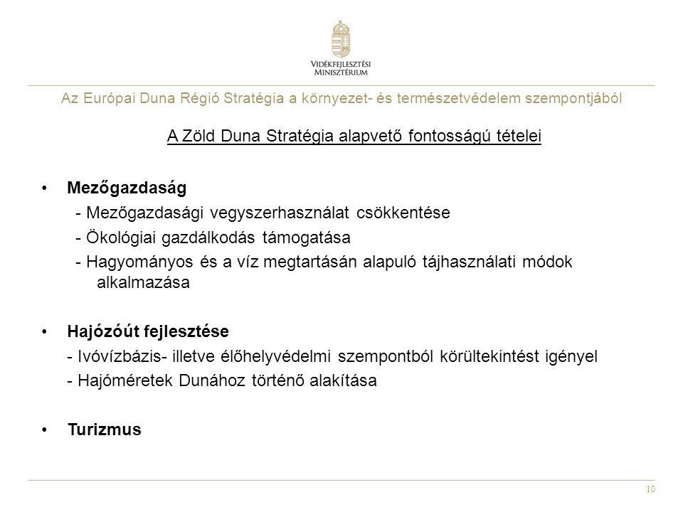 10 Az Európai Duna Régió Stratégia a környezet- és természetvédelem szempontjából A Zöld Duna Stratégia alapvető fontosságú tételei Mezőgazdaság - Mezőgazdasági vegyszerhasználat csökkentése - Ökológiai gazdálkodás támogatása - Hagyományos és a víz megtartásán alapuló tájhasználati módok alkalmazása Hajózóút fejlesztése - Ivóvízbázis- illetve élőhelyvédelmi szempontból körültekintést igényel - Hajóméretek Dunához történő alakítása Turizmus