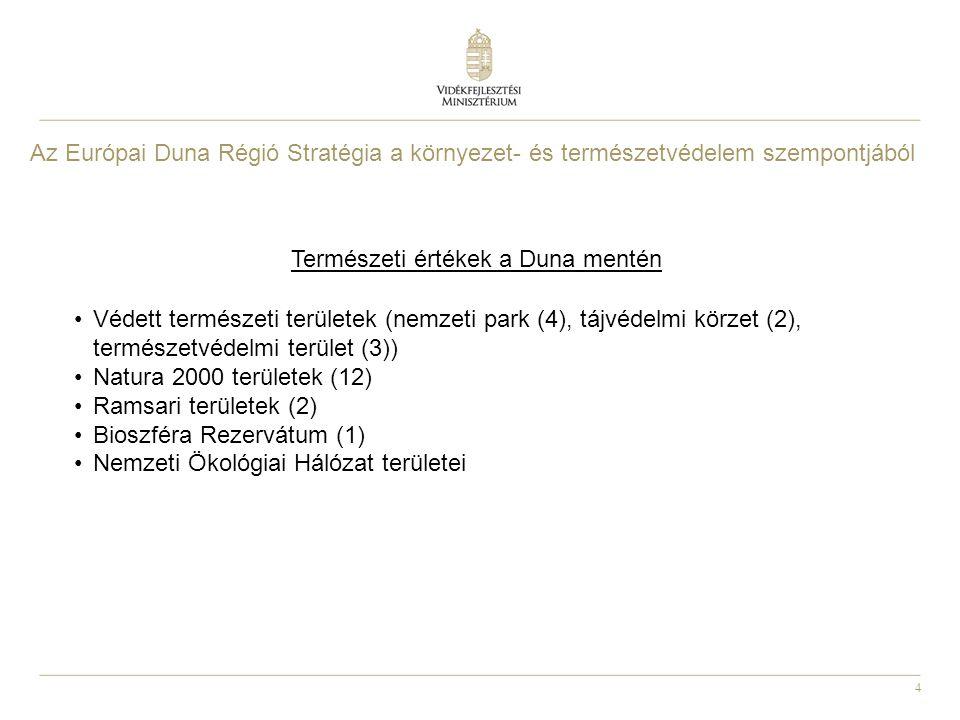 4 Természeti értékek a Duna mentén Védett természeti területek (nemzeti park (4), tájvédelmi körzet (2), természetvédelmi terület (3)) Natura 2000 területek (12) Ramsari területek (2) Bioszféra Rezervátum (1) Nemzeti Ökológiai Hálózat területei Az Európai Duna Régió Stratégia a környezet- és természetvédelem szempontjából