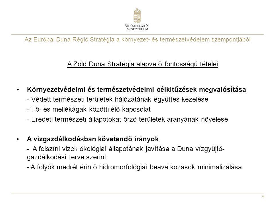 9 A Zöld Duna Stratégia alapvető fontosságú tételei Környezetvédelmi és természetvédelmi célkitűzések megvalósítása - Védett természeti területek háló