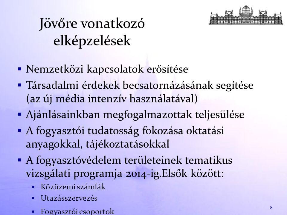 Jövőre vonatkozó elképzelések  Nemzetközi kapcsolatok erősítése  Társadalmi érdekek becsatornázásának segítése (az új média intenzív használatával)  Ajánlásainkban megfogalmazottak teljesülése  A fogyasztói tudatosság fokozása oktatási anyagokkal, tájékoztatásokkal  A fogyasztóvédelem területeinek tematikus vizsgálati programja 2014-ig.Elsők között:  Közüzemi számlák  Utazásszervezés  Fogyasztói csoportok 8