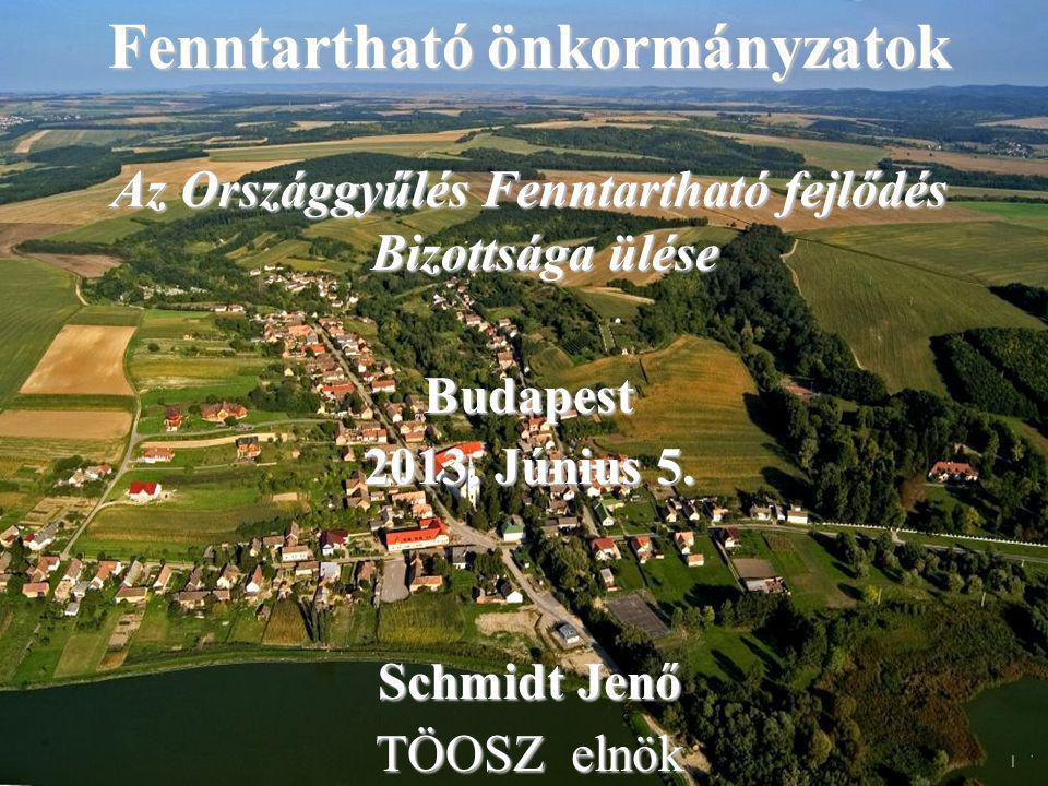 Fenntartható önkormányzatok Az Országgyűlés Fenntartható fejlődés Bizottsága ülése Budapest 2013.
